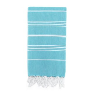 Authentic Pestemal Fouta Original Turquoise Blue and White Stripe Turkish Cotton Bath/ Beach Towel