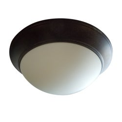 Satin Opal 2-light Rubbed Bronze Flush Mount