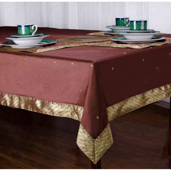 Handmade Brown Sari Table Cloth (India)|https://ak1.ostkcdn.com/images/products/P14695340.jpg?impolicy=medium