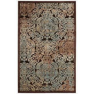 Nourison Graphic Illusions Chocolate Anitque Damask Multi Rug (2'3 x 3'9)