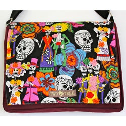 Handmade Medium Black Day of the Dead Fiesta Messenger Bag