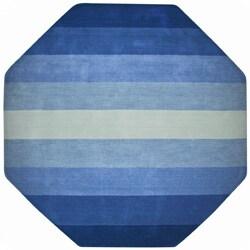 Hand-tufted Blue Stripe Wool Rug (6' Octagon)