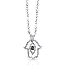 Victoria Kay Sterling Silver 1/3ct TDW Black and White Diamond Hamsa Evil Eye Pendant