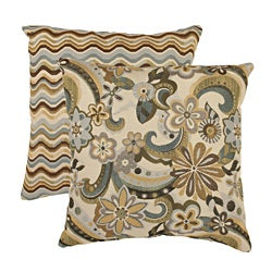 Pillow Perfect 'Floral Splash' and 'Wave' Throw Pillows (Set of 2)