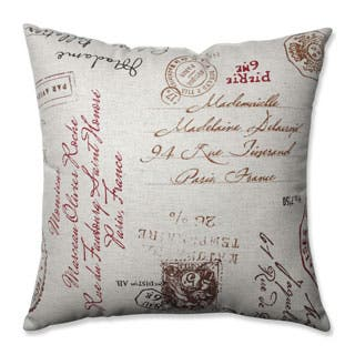 Pillow Perfect Linen/Red French Postale 18-inch Square Throw Pillow (Option: Linen)|https://ak1.ostkcdn.com/images/products/P14698138m.jpg?impolicy=medium