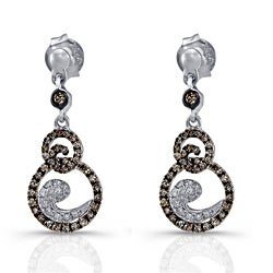 Victoria Kay Sterling Silver 1/2ct TDW Brown and White Diamond Earrings