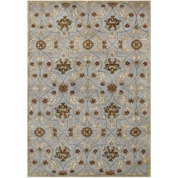 Alliyah Handmade Pearl Blue New Zealand Blend Wool Rug (9' x 12')