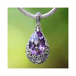 Handmade Sterling Silver 'Lavender Teardrop' Amethyst Necklace (Indonesia)