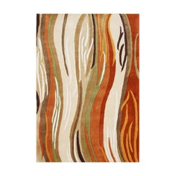 Alliyah Handmade Ivory, Beige, Rust, Brown, and Green New Zealand Blend Wool Rug (9' x 12')