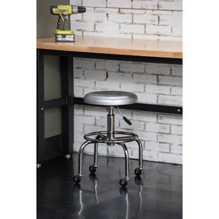Trinity Pneumatic Aluminum Work Stool with Casters - Silver