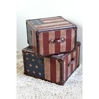 International Caravan Americana 'Stars and Stripes' Square Trunks (Set of Two)