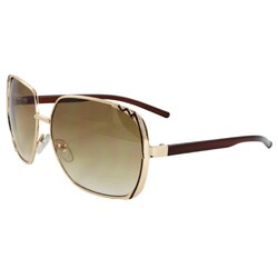 Unisex Gold/ Brown Square Sunglasses