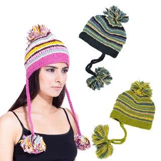 Handmade Pom Pom Girl Hat (Nepal)