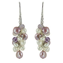Pearls For You Silver Pearl, Amethyst and Rose Quartz Earrings (3.4-7 mm)