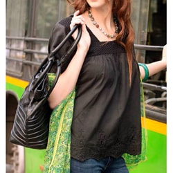 Handmade Women's Cotton 'Black Butterfly Dreams' Blouse (India)