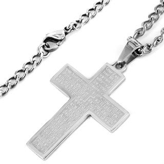 Stainless Steel Lord's Prayer Cross Necklace (Option: 20 Inch)