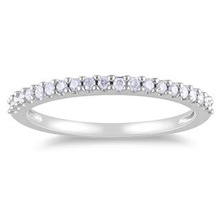 10k White Gold 1/5ct TDW Diamond Semi-Eternity Anniversary Band by Miadora