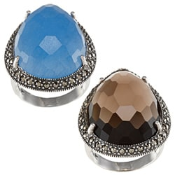 Sterling Silver Blue Jade or Smokey Quartz and Marcasite Ring