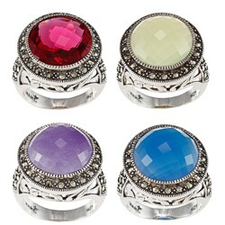 MARC Sterling Silver Marcasite and Gemstone Ring (3 options available)