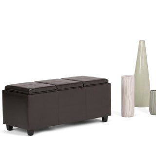 wyndenhall franklin storage ottoman with 3 serving trays - Brown Leather Ottoman