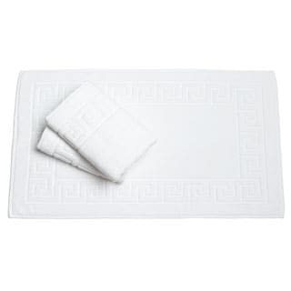 Salbakos White Greek Key Pattern Bath Mat (Set of 3)