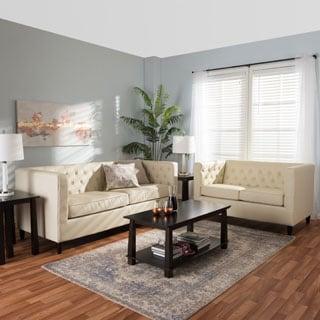 Baxton Studio Cream Leather 2-piece Sofa Set