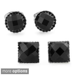 West Coast Jewelry Stainless Steel Black Onyx Stud Earrings