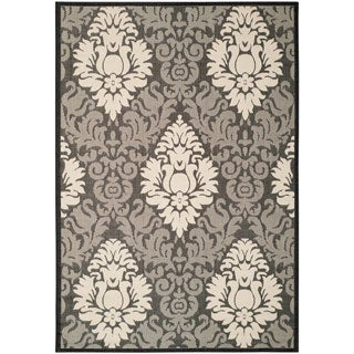 Safavieh St. Barts Damask Black/ Sand Indoor/ Outdoor Rug