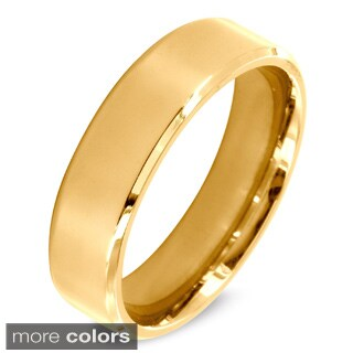Stainless Steel Beveled Edge Flat Band Ring (More options available)