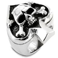 Stainless Steel Spade Ace Crossbones Death Skull Ring - Black