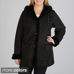 Excelled Women's Plus Size 3/4 Length Faux Shearling Coat w/Hood & Faux Leather Trim Detail