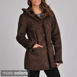 Excelled Women's 3/4 Length Faux Shearling Coat with Hood and Faux Leather Trim Detail
