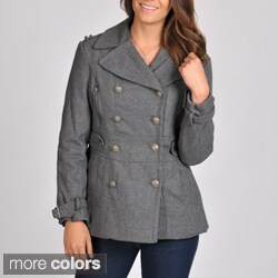 Excelled Women's Wool Blend Double Breasted Peacoat with Waist Tab Detail