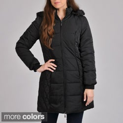 Excelled Women's 3/4 Puffer with Removable Hood and Faux Fur Trim