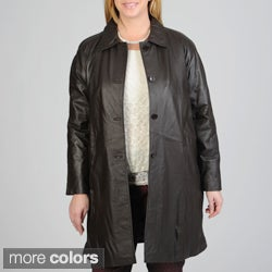 Excelled Women's Plus Size Leather Swing Coat