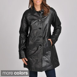 Excelled Women's Leather Swing Coat