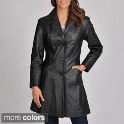 Excelled Women's Leather Walker Coat