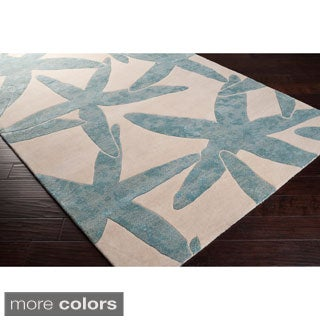 Hand-tufted Benson Blue Beach Inspired Wool Rug