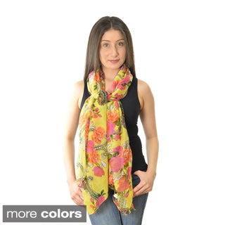 LA77 Women's Rose Print Paisley Scarf (More options available)