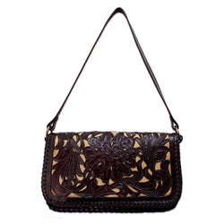 Leather 'Chrysanthemum' Medium Shoulder Bag (Mexico)