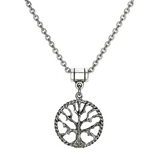 Jewelry by Dawn Unisex Pewter Tree Of Life Stainless Steel Chain Necklace