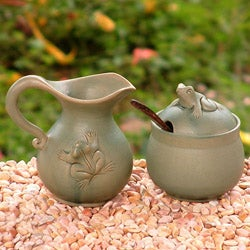 Handcrafted Ceramic 'Fancy Frogs' Sugar Bowl and Creamer (Indonesia)
