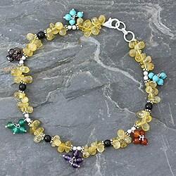 Handmade Sterling Silver 'Rainbow Gems' Multi-gemstone Anklet (India)