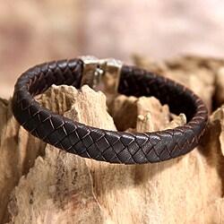 Sterling Silver Men's 'Masculine' Leather Bracelet (Indonesia)