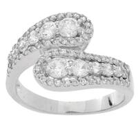 Simon Frank Silvertone Crystal Converging Bypass Ring