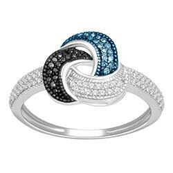 De Couer Sterling Silver 1/4ct TDW Blue, Black and White Diamond Ring|https://ak1.ostkcdn.com/images/products/P14970606.jpg?impolicy=medium