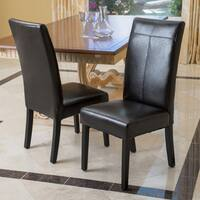 Lissa Black Polyurethane Dining Chair (Set of 2) by Christopher Knight Home