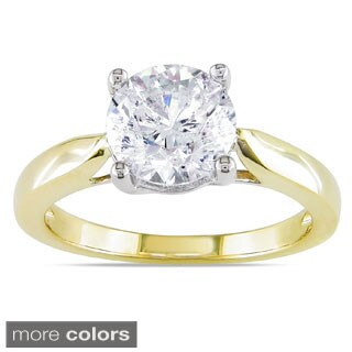 Miadora Signature Collection 14k Gold 2ct TDW Certified Round Solitaire Diamond Ring