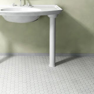 SomerTile 10.5x11-inch Victorian Hex Glossy White Porcelain Mosaic Floor and Wall Tile (Pack of 10)