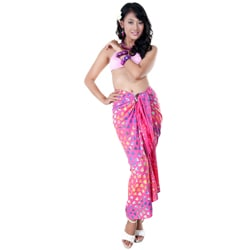 1 World Sarongs Women's Pink Abstract Heart Sarong (Indonesia)